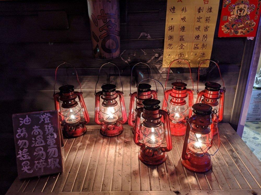 台東星星部落景觀咖啡櫃台油燈
