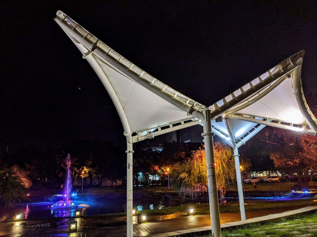 屏東總圖 森林圖書館 噴水池夜景