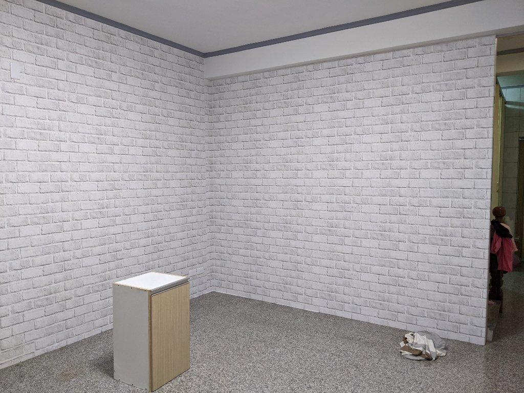 COSTCO 韓國高擬真水貼自黏壁紙 白磚完工 (1)